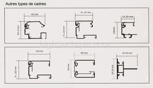 les diff rents types de cadres pour visuels cadre charni res. Black Bedroom Furniture Sets. Home Design Ideas