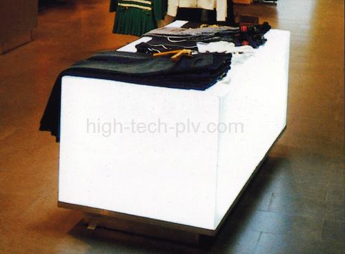 présentoir caisson lumineux pour l'industrie de l'habillement