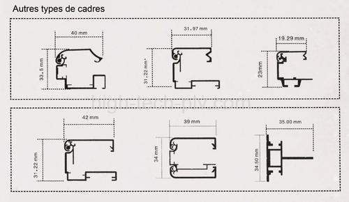 cadre affiche - schémas des bordures des cadres