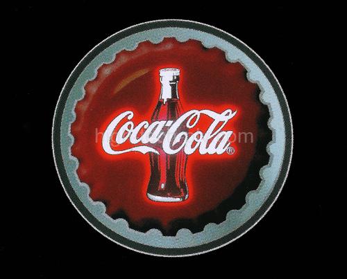 cadre animé à led circulaire avec la silhouette d'une bouteille à l'enseigne d'une marque de soda