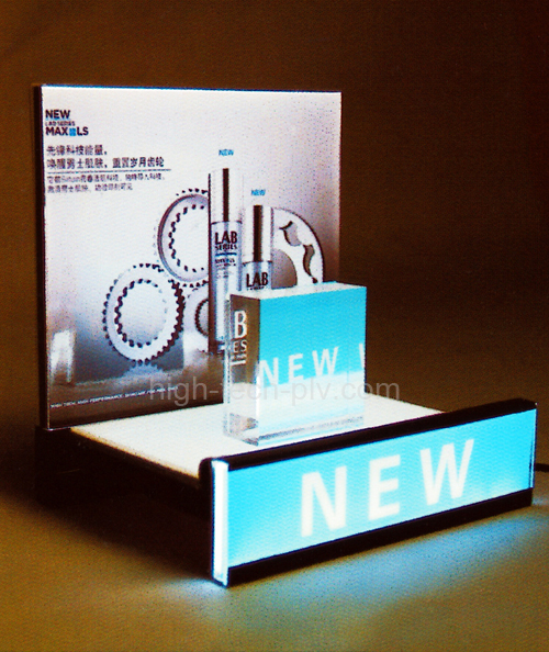caisson enseigne - présentoir à led métal et acrylique avec support de produit et fronton décoré