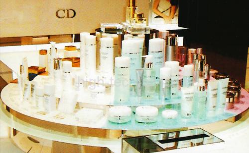 présentoir pour produits cosmétiques transparent et discret