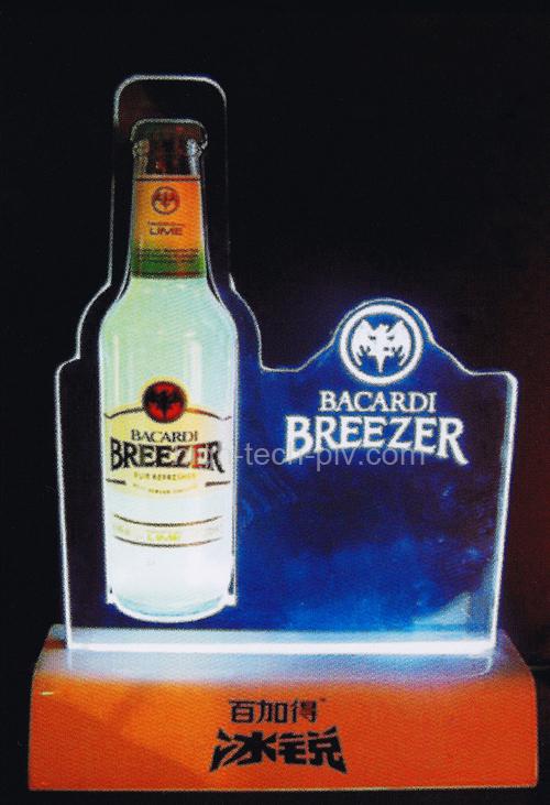 présentoir lumineux pour boissons avec réplique de bouteille et logo