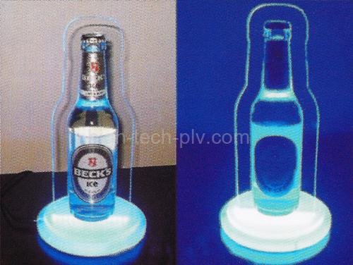présentoir lumineux avec socle lumineux pour boisson avec bouteille