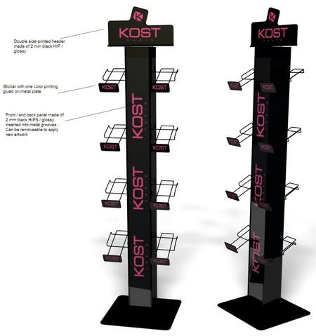présentoir métal - style colonne avec des casiers et un fronton décoré